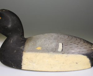 NICE BLUEBILL DRAKE DECOY CARVED BY HAROLD AUGUSTUS WILKINS (1877-1965)