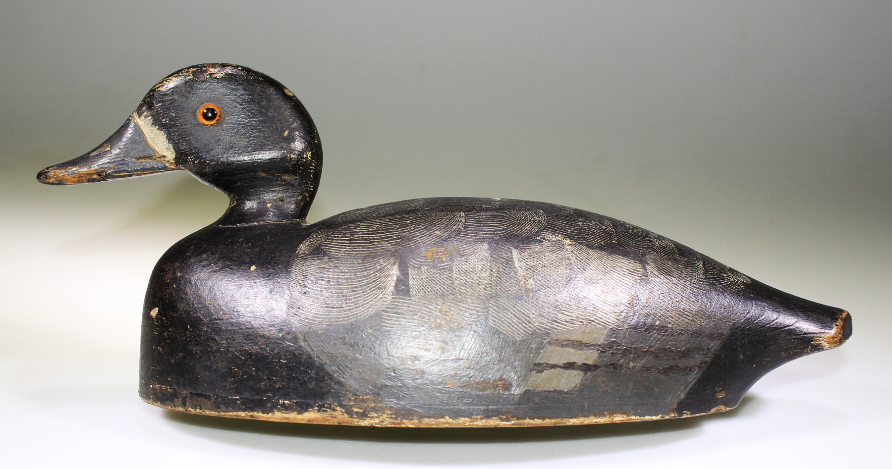 VERY NICE HOLLOW BLUEBILL HEN DECOY CARVED BY GEORGE ALTHOUSE